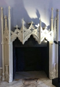 One of the white gothic fireplaces you can see in Strawberry Hill House on your day trip from London by train