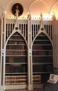 Some of the gothic bookshelves in the library in Strawberry Hill House