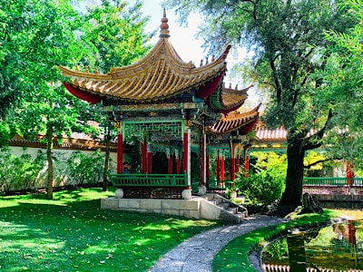 A temple in the Chinese Garden in Zurichhorn Park