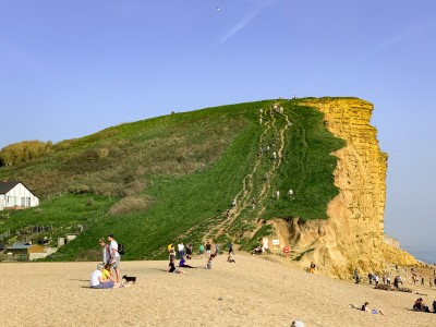 The cliff at West Bay Dorset with its steep path up the side