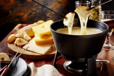 A picture of Swiss cheese fondue  - eating this is one of the top things to do in Zurich