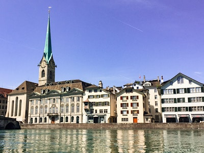 The Framunster church by the river in Zurich