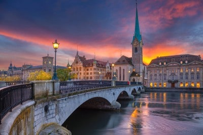 A view of the Fraumunster church across the Limmat river in Zurich