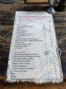 A replica menu for dinner that you can see on a day trip to Hampton Court Palace