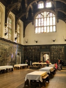 Inside the Great Hall with table and tablcloths