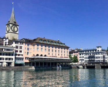 A view of the Storchen Hotel in Zurich across the river