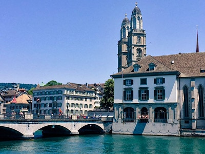 The Grossmunster church by the river in Zurich
