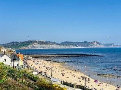 Overlooking part of the sandy beach in Lyme Regis Dorset