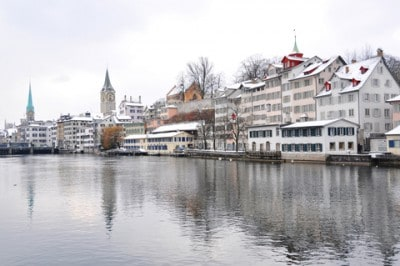 Zurich in winter - snowed capped buildings in the old town