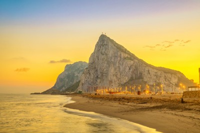 A view of the rock of Gibraltar at sunset