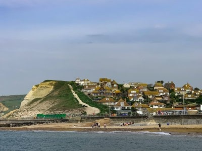 A view of the path up the side of the West Cliff in West Bay Dorset