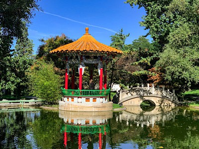 A temple in the Chinese Garden in Zurichhorn Park - this is one of the top things to do in Zurich
