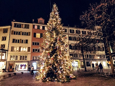 A Christmas tree in Zurich old town