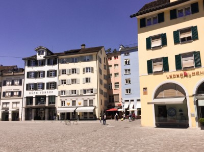 Some colourful buildings in Zurich's old town