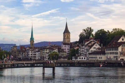A view of one part of Zurich's old town across the river