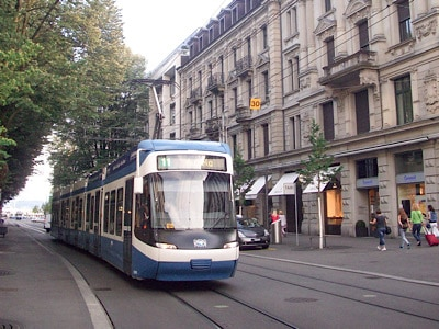 A tram in Zurich.