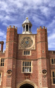 A view of the astronomical clock in Clock Court at Hampton Court Palace