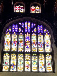 One of the stained glass windows at Hampton Court Palace