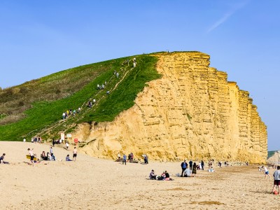 An image of the cliff overlooking the East Beach - there is a path up the side