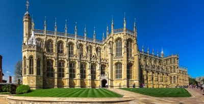 The outside of St. George's chapel Windsor Castle - you can visit this on a day trip to Windsor