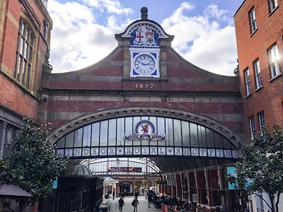 The arch leading into the Windsor Royal Shopping Centre