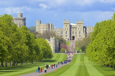 A view of Windsor Castle from the Long Walk