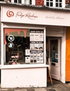 The outside of the Fudge Kitchen shop