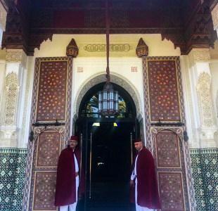 The entrance to Hotel La Mamounia