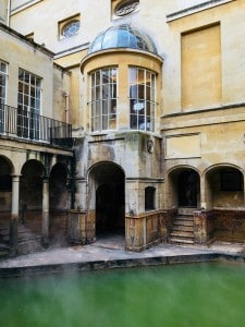 The King's Bath with the steam rising off the water