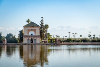 The pavilion at the Menara Gardens  in Marrakech - you can see the Atlas Mountains in the background