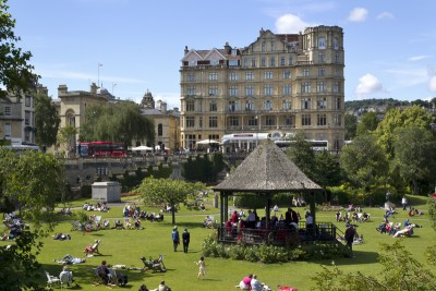 Parade Gardens in Bath with the bandstand in the middle