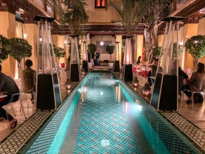 Part of the restaurant - with the riad pool - in Pepe Nero