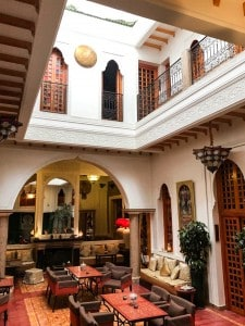 Part of the inside of inside of Riad Andalla that we stayed in
