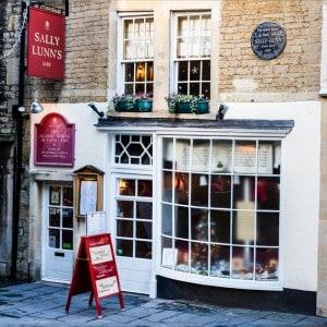 The outside of Sally Lunn's tea room in Bath