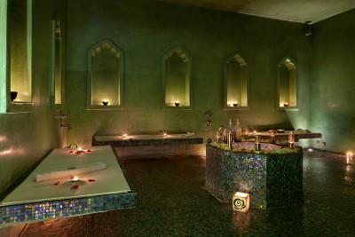 The inside of a treatment room in the Hammam de la Rose Marrakech