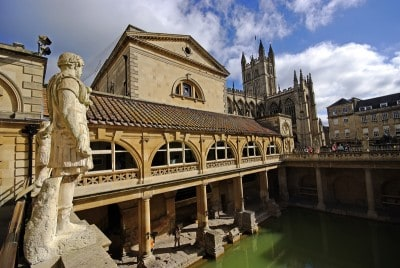 A view of the Great Bath in the Roman Baths - you can see one of the statutes on the top