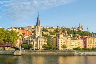 A view of Lyon from the river that you can see in 2 days in Lyon