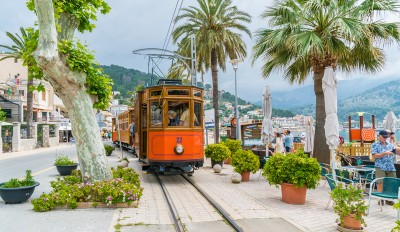 The Orange Express train at the Port de Soller