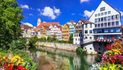 A view of the coloured houses along the river in Tubingen Germany