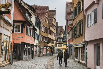 Some of the medieval streets in Tubingen Germany