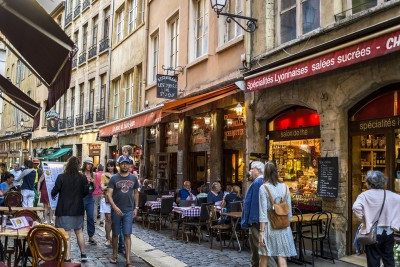 A streets lined with restaurants in Lyon that you can visit in 2 days in Lyon