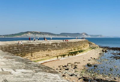 The Cobb Lyme Regis with views out to sea - walking along here is one of the key things to do in Lyme Regis