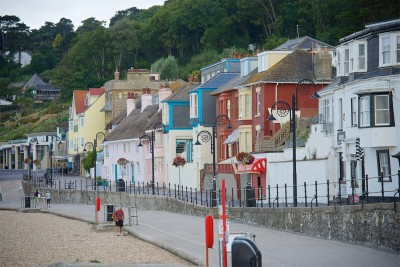 The colourful buildings along the promenade in Lyme Regis