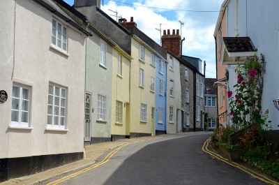 One of the smaller backstreets in Lyme with its pastel coloured frontages