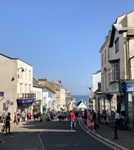 One of the main streets in Lyme Regis with shops