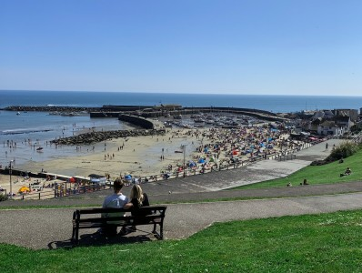 A view out across to The Cobb and harbour from the gardens in Lyme Regis