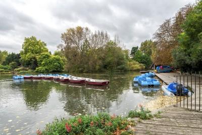The boating lake in Battersea Park in London