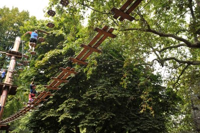 A treetop walkway in the Go Ape site in Battersea site London.  This is one of the things to do in south west London