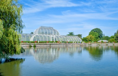 The Palm House in Kew Gardens by the lake