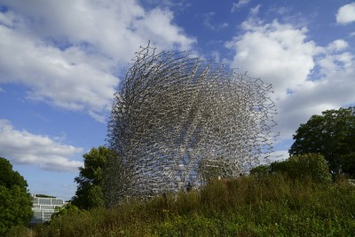 A view of the outside of the Hive installation in Kew Gardens